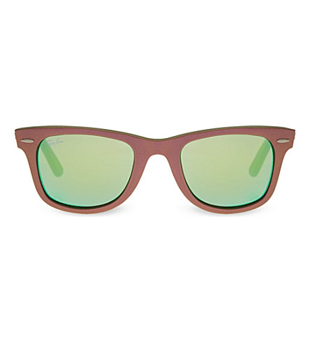 RAY-BAN Brown wayfarer sunglasses with mirrored lenses RB2140 (Brown
