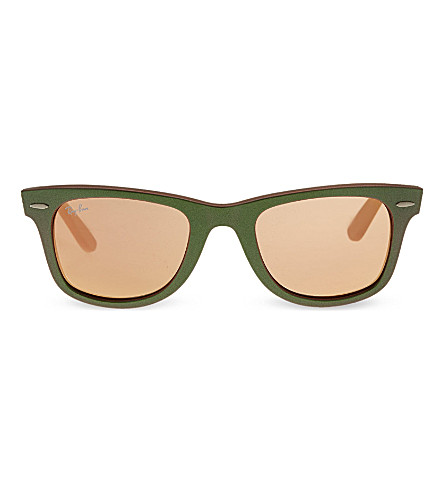 RAY-BAN Green wayfarer sunglasses with mirrored lenses RB2140 (Green
