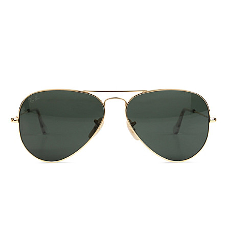 RAY-BAN 18ct gold aviator sunglasses (Gold