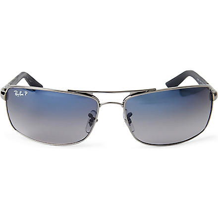 RAY-BAN Metal-rimmed polarized D-frame sunglasses