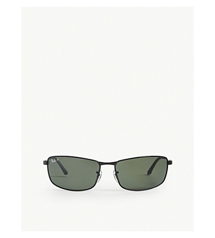 RAY-BAN 极化 D 框架太阳镜 RB3498 64 (黑色