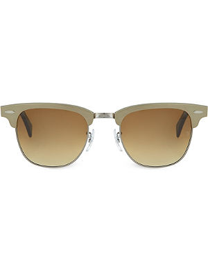 RAY-BAN Brushed bronze clubmaster sunglasses RB3507 49