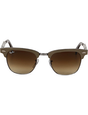 RAY-BAN Brown half-framed clubmaster sunglasses RB3507 51