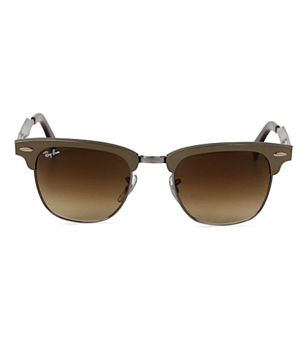RAY-BAN Brown half-framed clubmaster sunglasses RB3507 51 (Brushed bronze