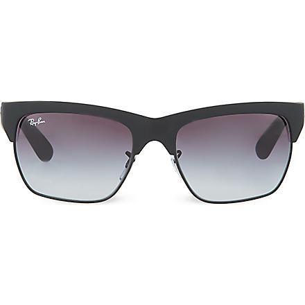 RAY-BAN Rubber framed clubmaster sunglasses RB4186 57 (Rubber black/black