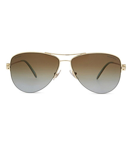 TIFFANY & CO TF3021 Return to Tiffany aviator sunglasses (Gold