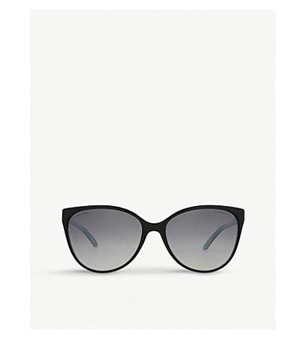 蒂芙尼 & CO TF4089B 咏叹调协奏曲猫眼框架太阳镜 (黑色/蓝色