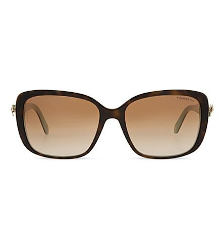 TIFFANY & CO TF4092 Twist square-frame sunglasses (Havana/blue