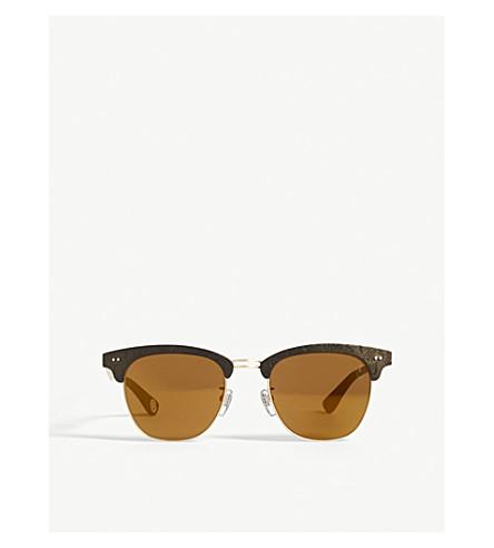 BAPE BS13041 rectangle-frame sunglasses (Gold+matte