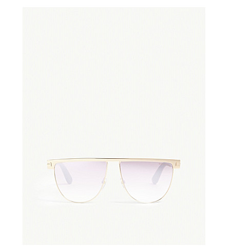 TOM FORD Rose gold Stephanie irregular sunglasses (Pink