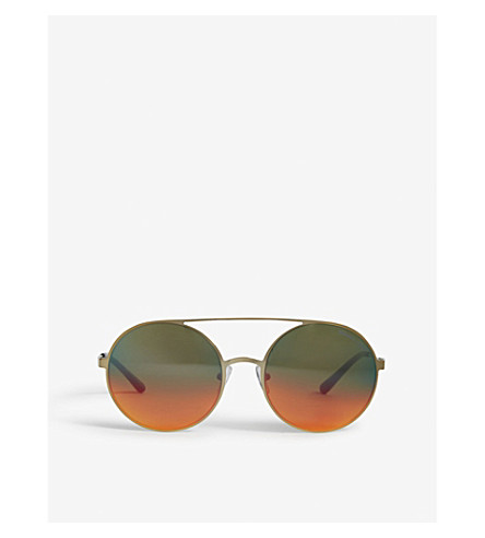 MICHAEL KORS Cabo round-frame sunglasses (Pale+gold-tone