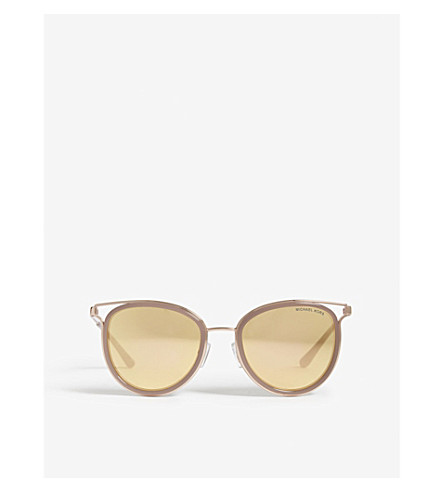 MICHAEL KORS Havana cut-out cat-eye frame sunglasses (Rose+gold+tone