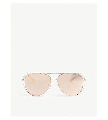 MICHAEL KORS Lai aviator-frame sunglasses (Shiny+rose+gold