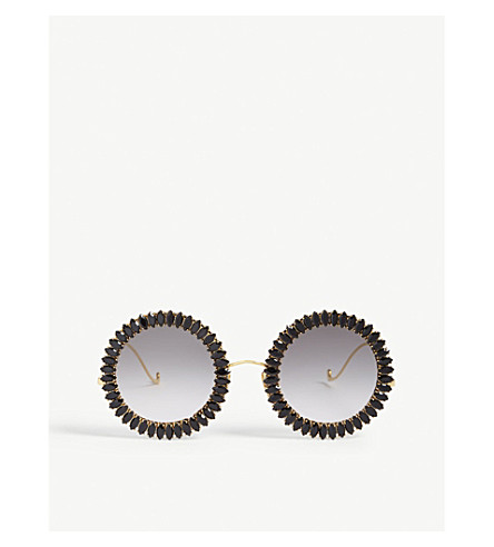 ANNA-KARIN KARLSSON Sunflower embellished round-frame sunglasses (Black+cry