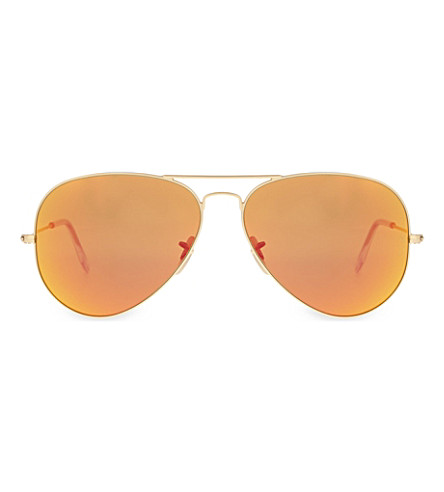 RAY-BAN RB3025 gold-toned aviator sunglasses (Matte+gold
