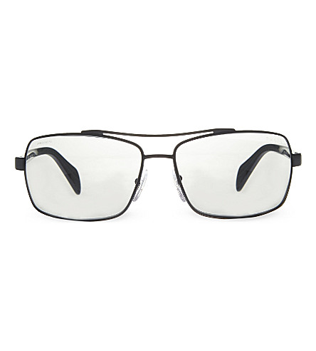 PRADA PR55QS black rectangle sunglasses (Black