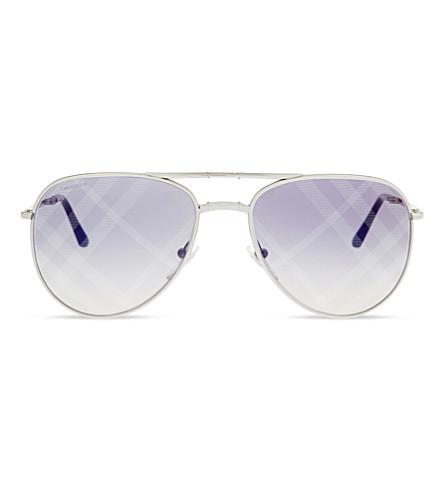 BURBERRY B3071 check lense pilot sunglasses