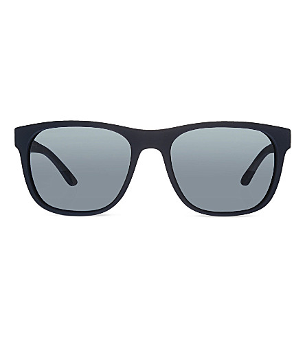 GIORGIO ARMANI Rubber square sunglasses (Blue+rubber