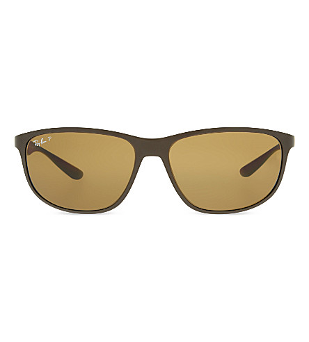 RAY-BAN Rb4213 liteforce square-frame sunglasses (Dark+matte+brown