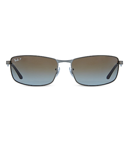 RAY-BAN RB3498 Matte rectangle sunglasses (Matte+gunmetal
