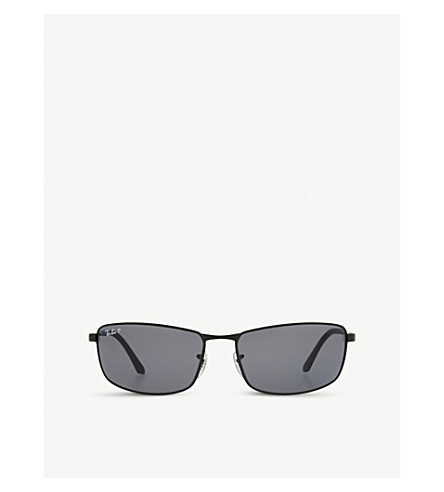 RAY-BAN RB3498 rectangle sunglasses (Matte+black