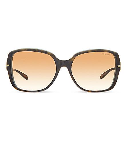 TIFFANY & CO TF4101 square sunglasses (Havana/blue