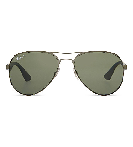 RAY-BAN Rb3523 polarised aviator sunglasses (Matte+gunmetal