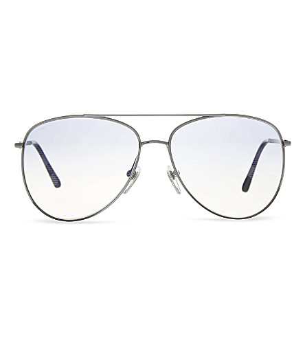 BURBERRY Checked aviator sunglasses (Gunmetal