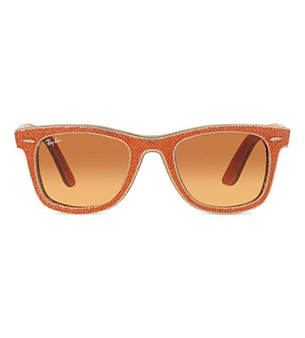 RAY-BAN RB2140 Denim Wayfarer sunglasses (Jeans+orange