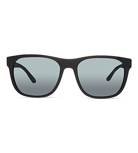 GIORGIO ARMANI Rubber square sunglasses (Black+rubber