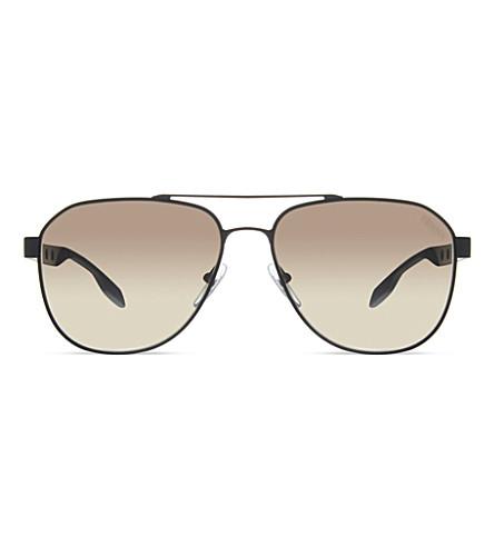PRADA PR51RS matte black pilot sunglasses (Matte+black