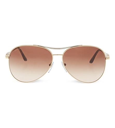 BVLGARI 6075 pilot sunglasses (Pale+gold/silver