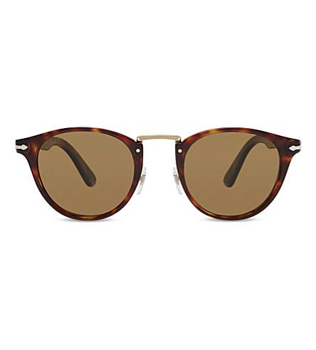 PERSOL PO3108S Typewriter Edition round-frame sunglasses (Havana