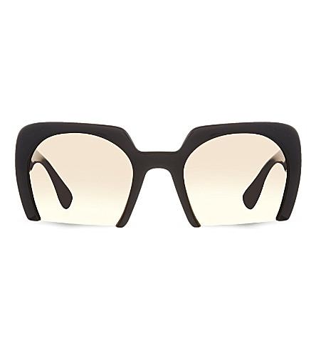 MIU MIU MU06Q rectangular half-frames sunglasses (1ab1f2black