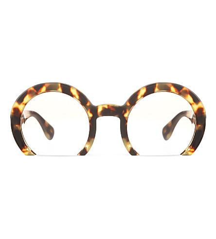 MIU MIU MU07Q round half-frame sunglasses (7s01l0brown