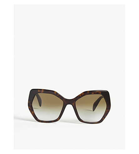PRADA SPR16R irregular havana sunglasses (2au4m0brown