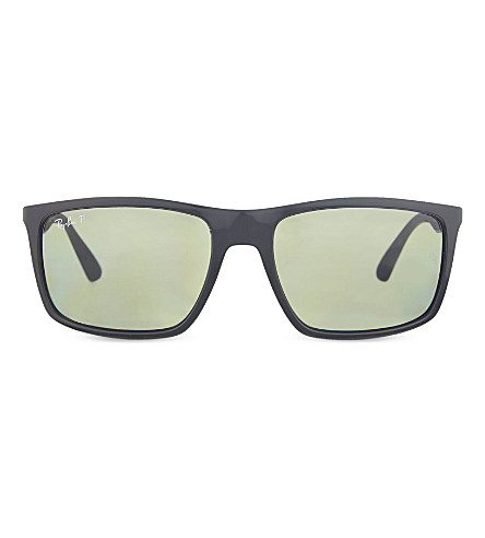 RAY-BAN RB4228 polarised rectangle sunglasses (Black