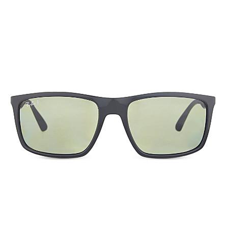 RAY-BAN RB4228 polarised rectangle sunglasses (Black