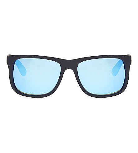 RAY-BAN RB4165 rectangle sunglasses (Black rubber