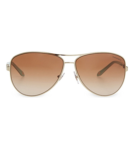 TIFFANY & CO TF3048 aviator sunglasses (Pale+gold