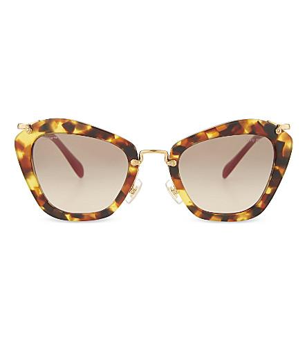 MIU MIU SMU 13N Noir Havana round sunglasses (Medium+havana