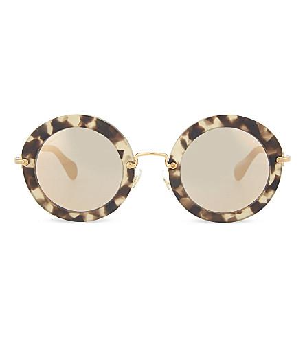 MIU MIU SMU 13N Noir havana round sunglasses (Beige+havana