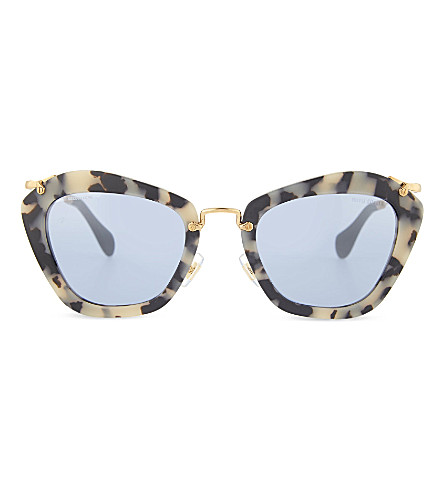 MIU MIU SMU 10N Noir havana cat eye sunglasses (Black sand