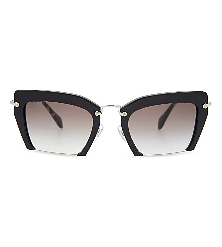 MIU MIU MU10Q half-frame irregular sunglasses (Black