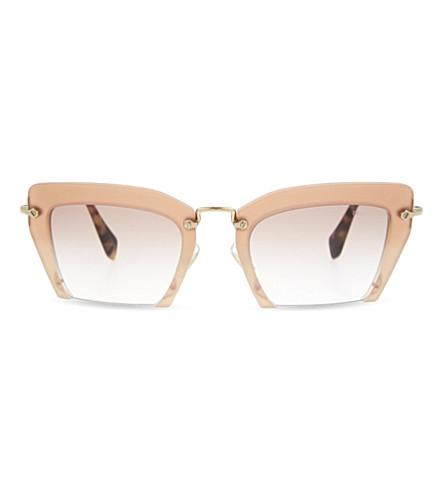 MIU MIU MU10Q irregular half-frame sunglasses (Pearl+pink