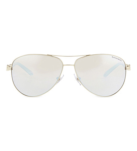 TIFFANY & CO TF3049-B Gold-toned aviator sunglasses (Gold