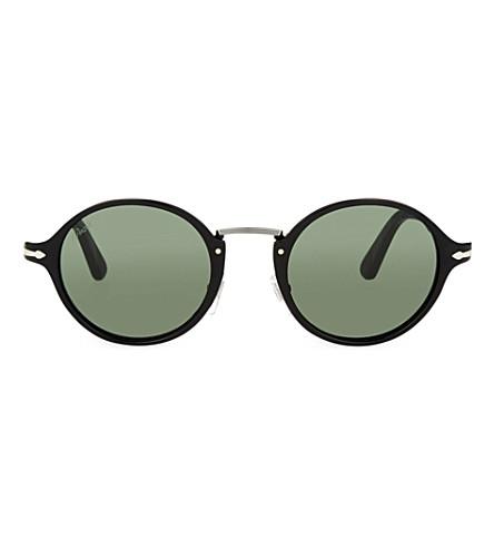 PERSOL 3129 round-frame sunglasses (Black