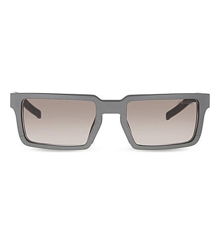 PRADA PR50SS rectangle-frame sunglasses (Brushed+graphite