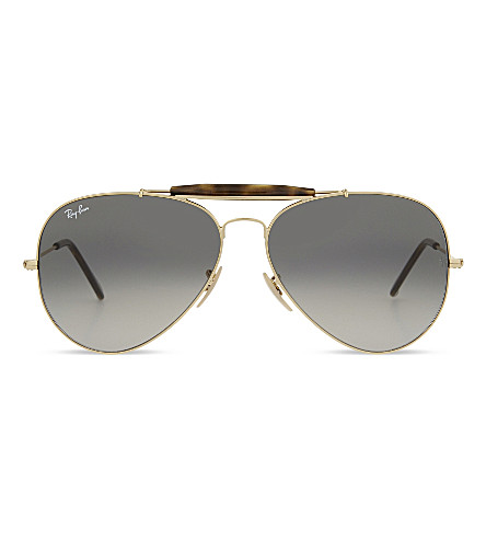 RAY-BAN RB3029 Outdoorsman havana aviator sunglasses (Gold