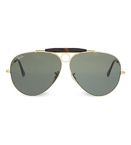 RAY-BAN RB3138 gold-toned frame aviator sunglasses (Gold